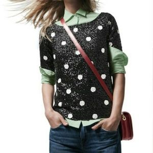 J.Crew polka dot sequin blouse XS black white